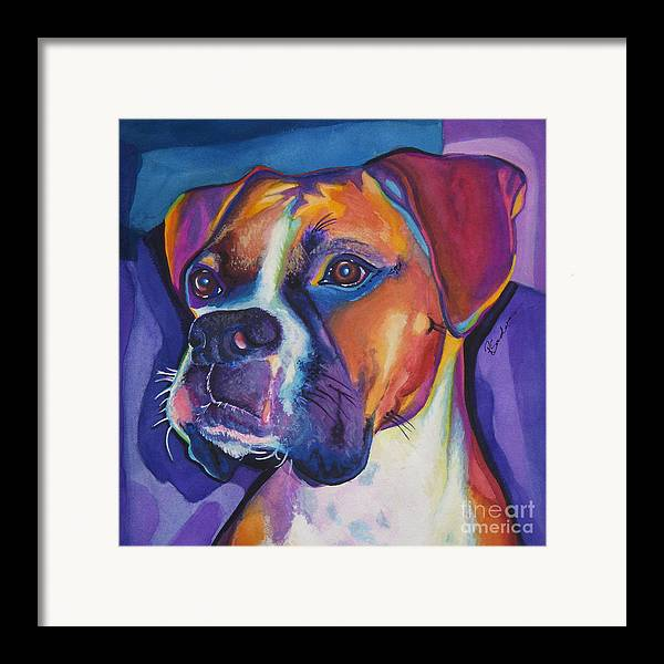 Animals Framed Print featuring the painting Square Boxer Portrait by Robyn Saunders