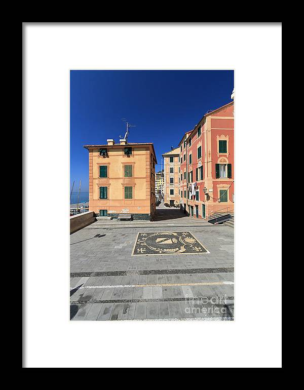 Ancient Framed Print featuring the photograph square in Sori - Italy by Antonio Scarpi