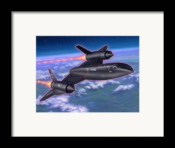 Sr-71 Framed Print featuring the painting Sr-71 Blackbird by Stu Shepherd
