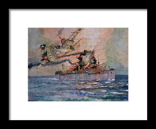 Wwii Framed Print featuring the painting Ss Waimarama by Ray Agius