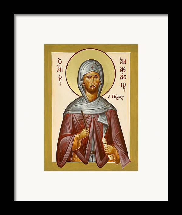 Saint Anastasios The Persian Framed Print featuring the painting St Anastasios The Persian by Julia Bridget Hayes