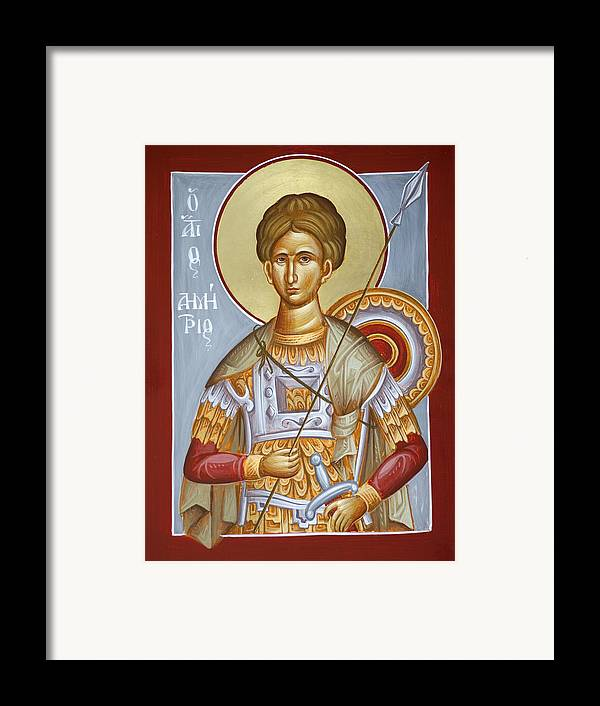 St Dimitrios Framed Print featuring the painting St Dimitrios The Myrrhstreamer by Julia Bridget Hayes