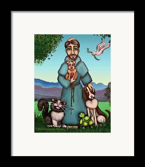 St. Francis Framed Print featuring the painting St. Francis Libertys Blessing by Victoria De Almeida