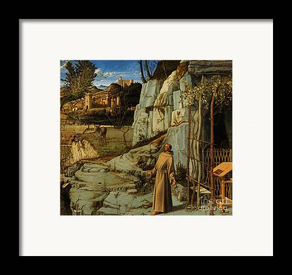Bellini Framed Print featuring the painting St Francis Of Assisi In The Desert by Giovanni Bellini