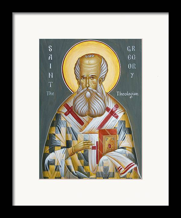 Orthodox Icon Framed Print featuring the painting St Gregory The Theologian by Julia Bridget Hayes