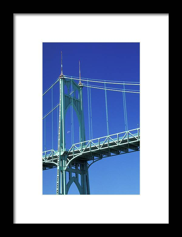 Photography Framed Print featuring the photograph St Johns Bridge Cathedral Park Portland by Vintage Images