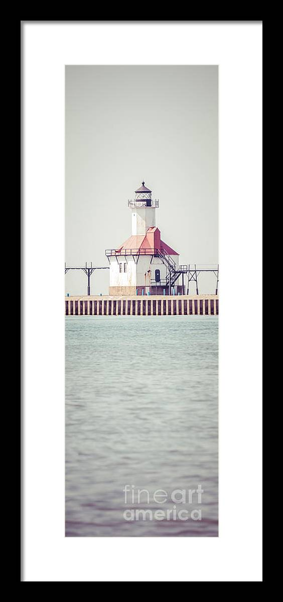 House Framed Print featuring the photograph St. Joseph Lighthouse Vertical Panorama Photo by Paul Velgos