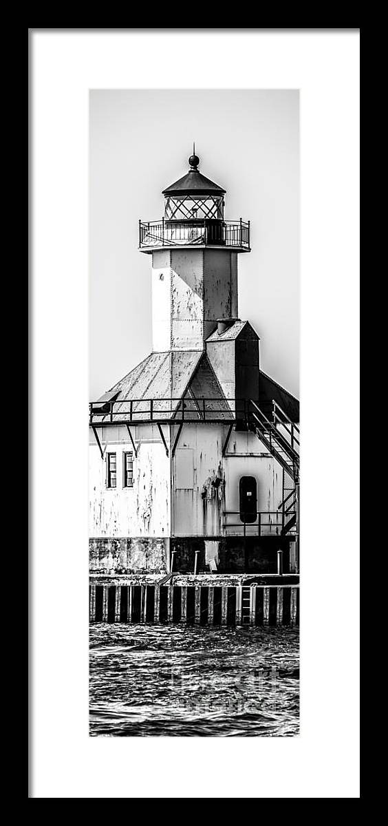 Great Lakes Framed Print featuring the photograph St. Joseph Lighthouse Vertical Panorama Picture by Paul Velgos