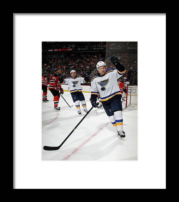 People Framed Print featuring the photograph St Louis Blues V New Jersey Devils by Bruce Bennett