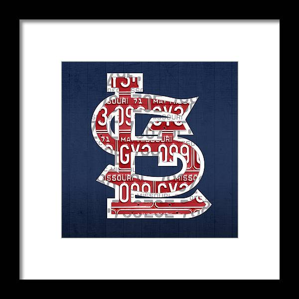 St Framed Print featuring the mixed media St. Louis Cardinals Baseball Vintage Logo License Plate Art by Design Turnpike