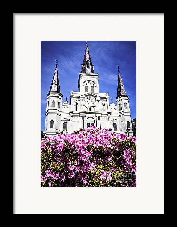 America Framed Print featuring the photograph St. Louis Cathedral And Flowers In New Orleans by Paul Velgos