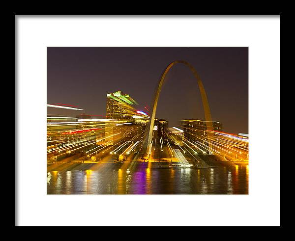 St Louis Framed Print featuring the photograph St Louis Skyline With Special Zoom Effect by Garry McMichael