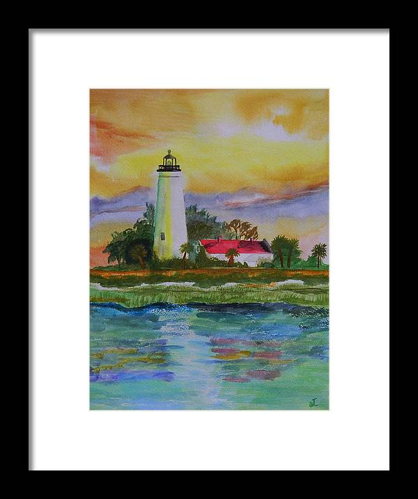 Landscape Framed Print featuring the painting ST. Marks Lighthouse-2 by Warren Thompson