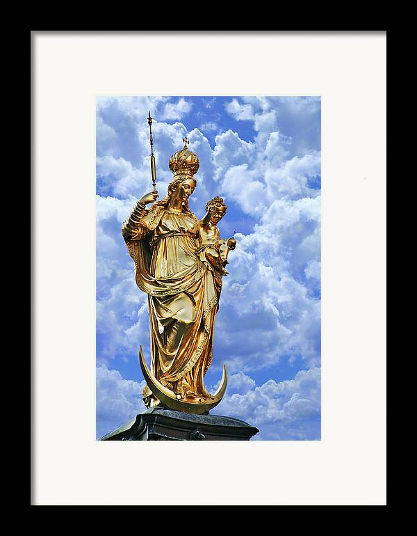 Marys Framed Print featuring the photograph St Mary's Column Marienplatz Munich by Christine Till