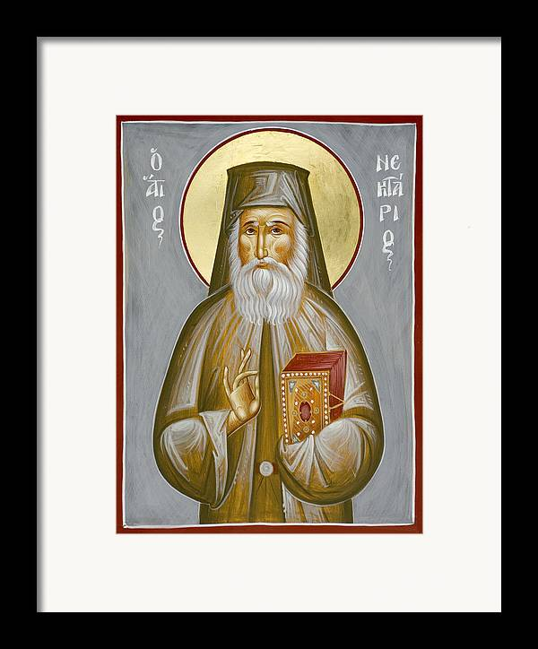 Framed Print featuring the painting St Nektarios Of Aegina by Julia Bridget Hayes