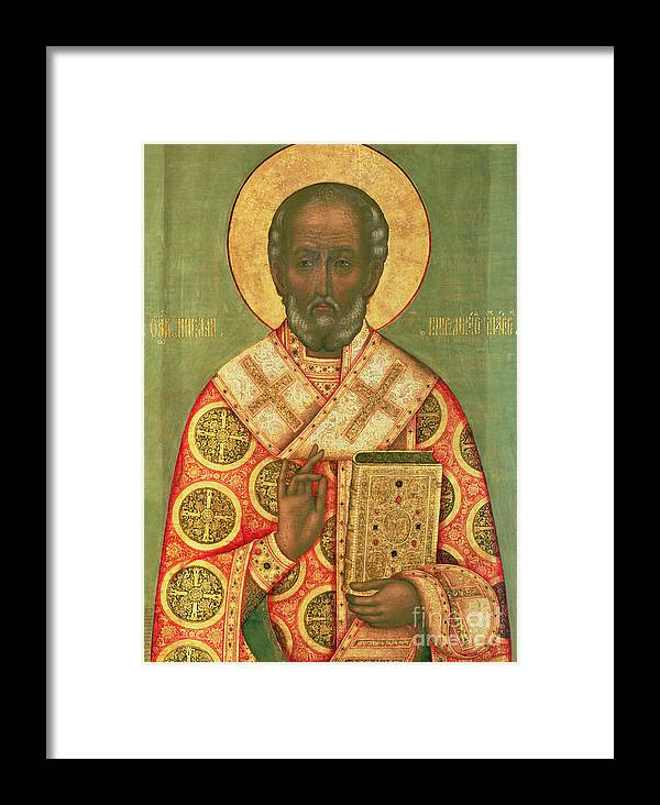 Miracle Worker; Icon Framed Print featuring the painting St. Nicholas by Russian School