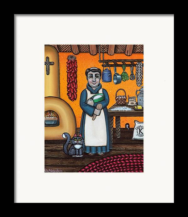 San Pascual Framed Print featuring the painting St. Pascual Making Bread by Victoria De Almeida