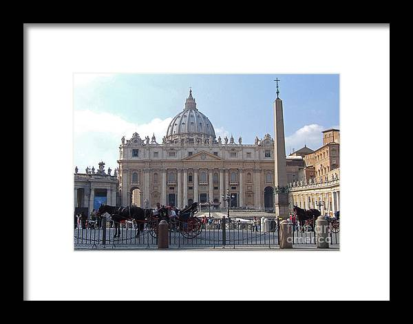 St. Peters Framed Print featuring the photograph St. Peters Square - Vatican City by Phil Banks