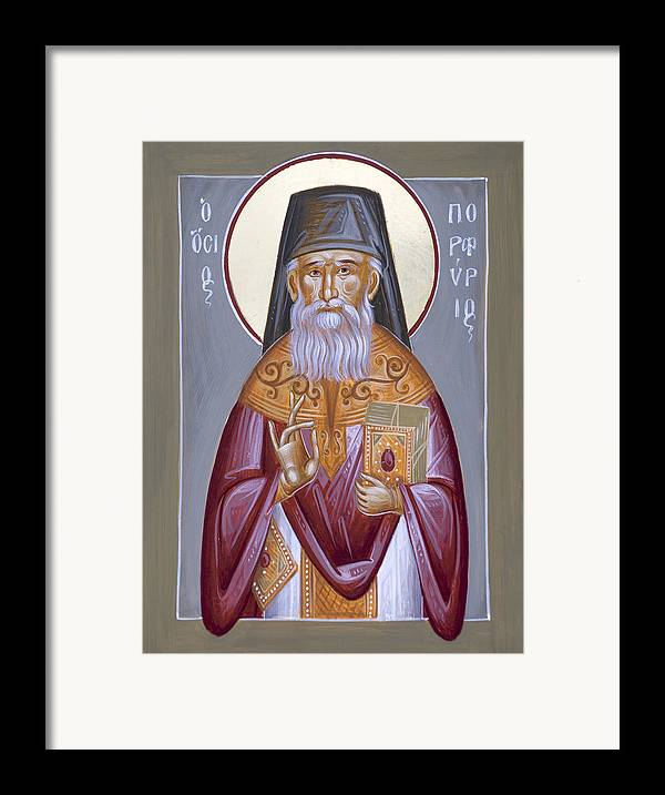 St Porphyrios Framed Print featuring the painting St Porphyrios The Kavsokalyvitis by Julia Bridget Hayes