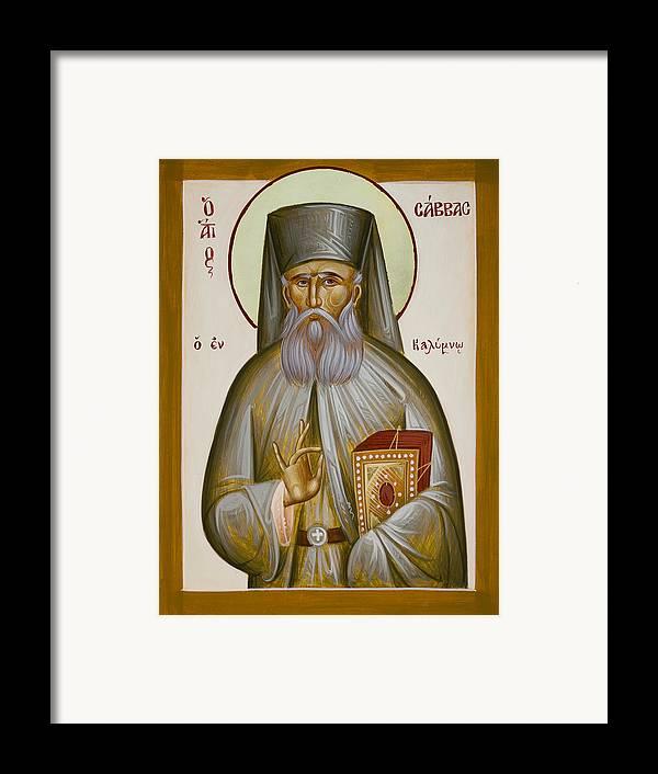 St Savvas Of Kalymnos Framed Print featuring the painting St Savvas Of Kalymnos by Julia Bridget Hayes