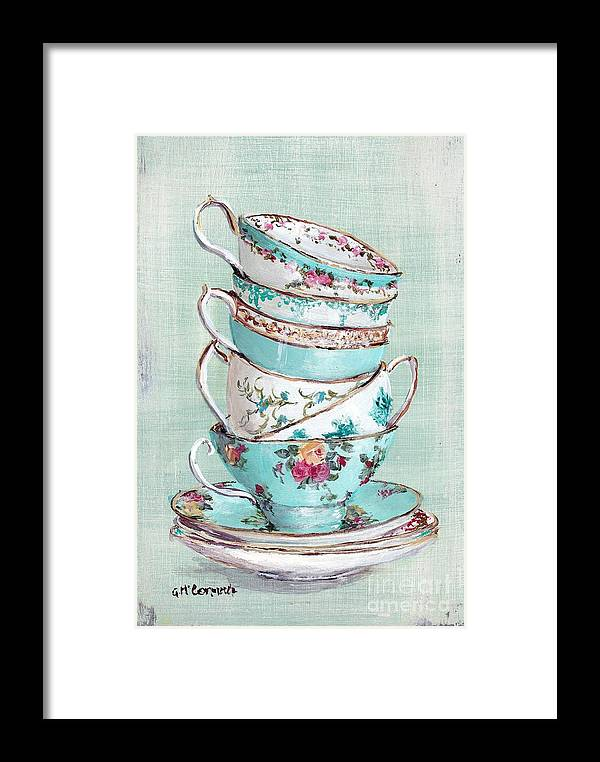 Aqua Themed Tea Cups Framed Print featuring the painting Stacked Aqua Themed Tea Cups by Gail McCormack