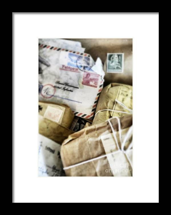 Soldier Framed Print featuring the photograph Stacks Of Old Mail Tied Together by Birgit Tyrrell
