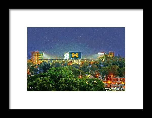 University Of Michigan Framed Print featuring the painting Stadium At Night by John Farr