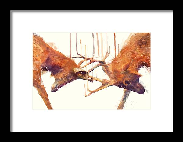 Stags Framed Print featuring the painting Stags // Strong by Amy Hamilton