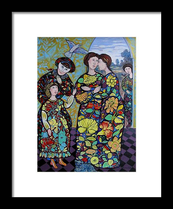Stain Glass. Ladies. Women Framed Print featuring the painting Stain Glass Women by Marilene Sawaf