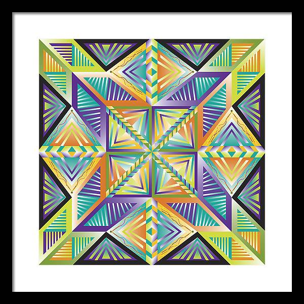 Optical Geometric Visual Digital Art Giclee Print Framed Print featuring the digital art Stained Glass 1 by James Sharp