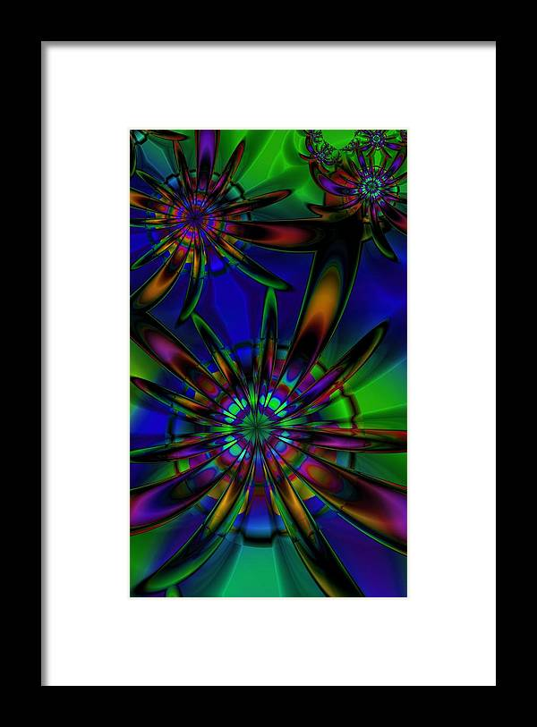 Flower Framed Print featuring the digital art Stained Glass Passion Flowers by Kiki Art