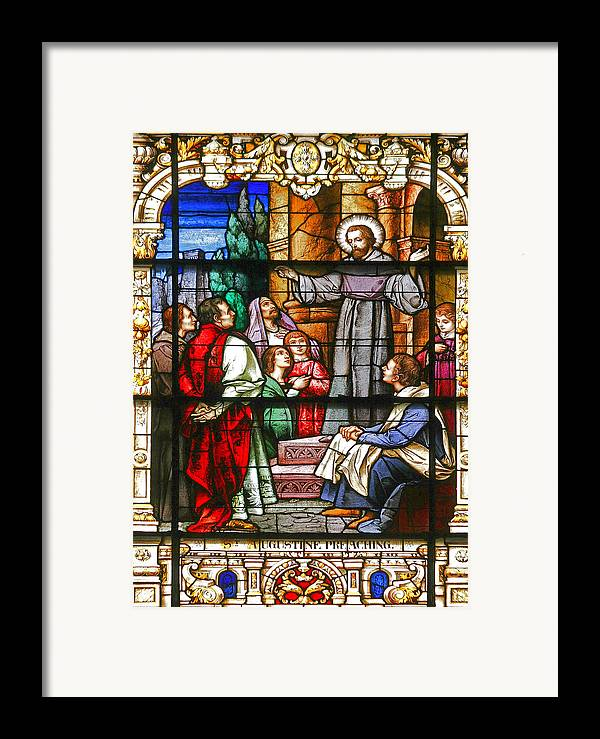 St Framed Print featuring the photograph Stained Glass Window Saint Augustine Preaching by Christine Till