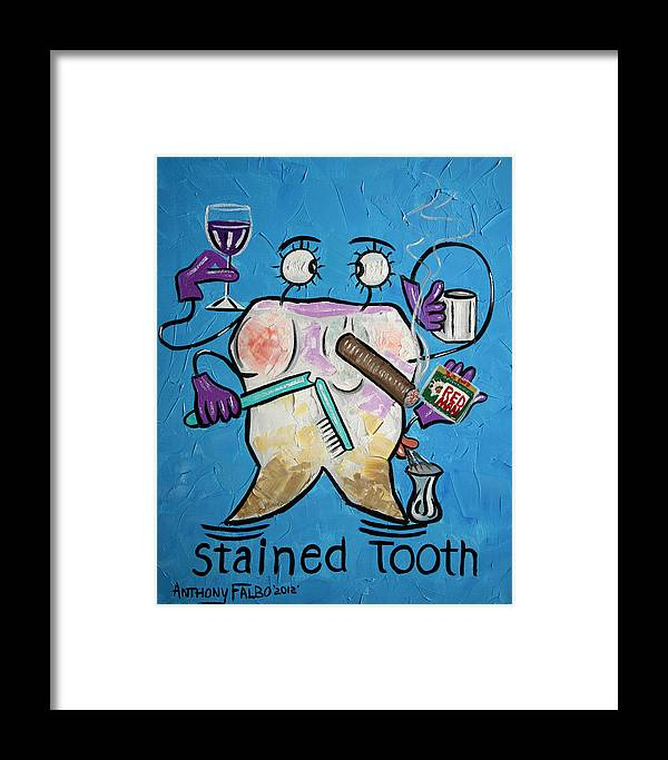 Stained Tooth Framed Prints Framed Print featuring the painting Stained Tooth by Anthony Falbo