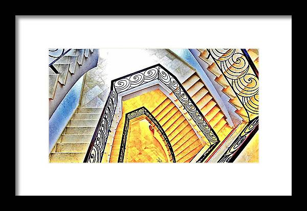 Hotel Framed Print featuring the digital art Staircase Abstract by John Lynch