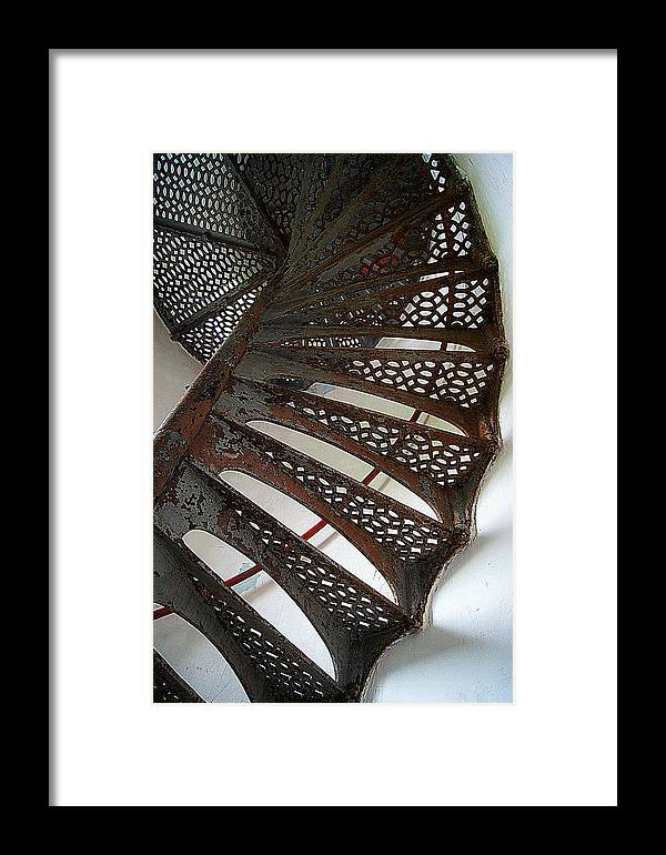 Winding Framed Print featuring the photograph Staircase Of The Chambers Island Lighthouse by Carol Toepke