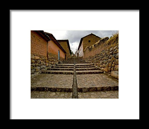 Landscape Framed Print featuring the photograph Stairs In Chinchero Peru by Jared Bendis