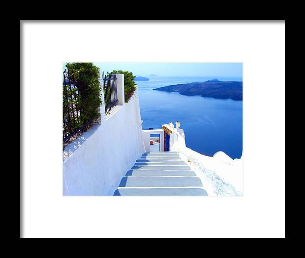 Blue Door Stairs Water Caldera Santorini Greece Photo Photograph Image Print White Gray Volcano Iron Railing Doorway Gate Tiles Ocean Bright Island Visible Waves Cliff Cliffs Sheer Drop Off Contrast Colors Framed Print featuring the photograph Stairs To The Blue Door by Scott Carda