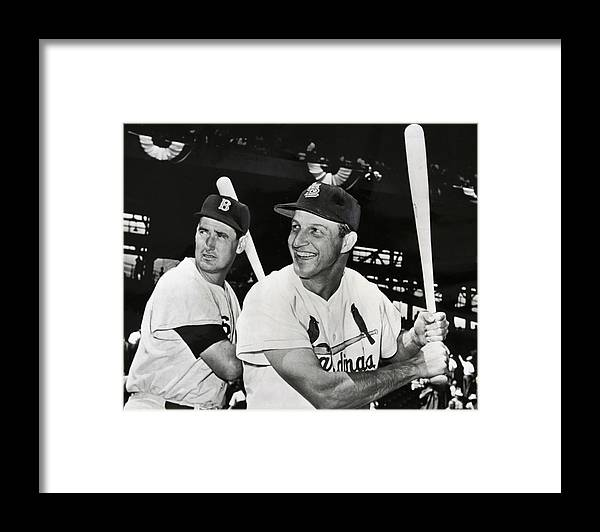 stan Musial Framed Print featuring the photograph Stan Musial And Ted Williams by Daniel Hagerman