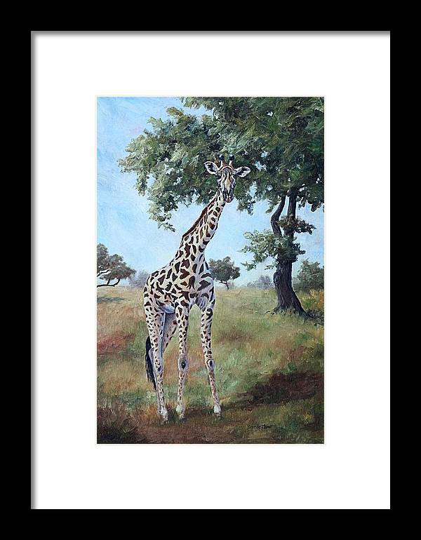 Giraffe Framed Print featuring the painting Standing Tall by Brenda Thour