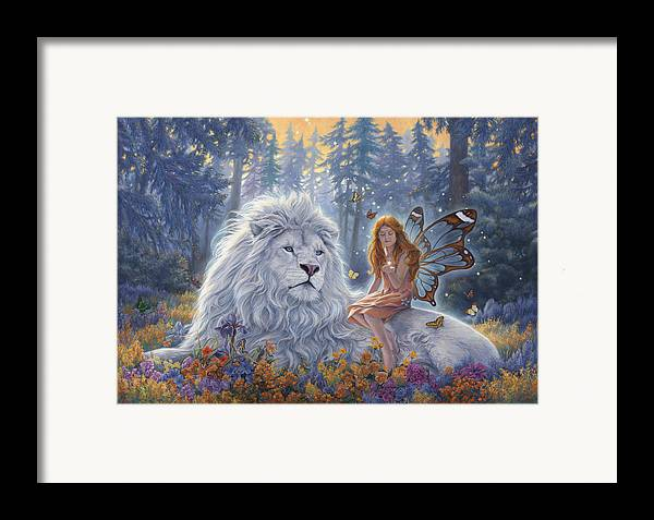 White Lion Framed Print featuring the painting Star Birth by Lucie Bilodeau