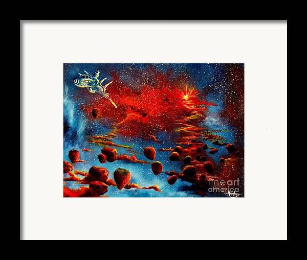 Nova Framed Print featuring the painting Starberry Nova Alien Excape by Murphy Elliott