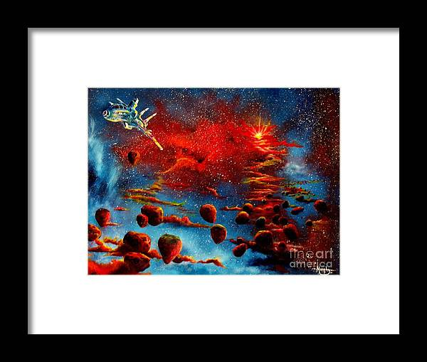 Nova Framed Print featuring the painting Starberry Nova Alien Excape by Murphy Elliott