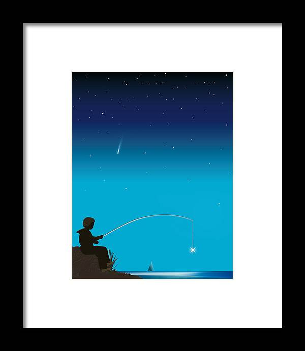 Symbolic Digital Art Framed Print featuring the digital art Starfisher by Harald Dastis