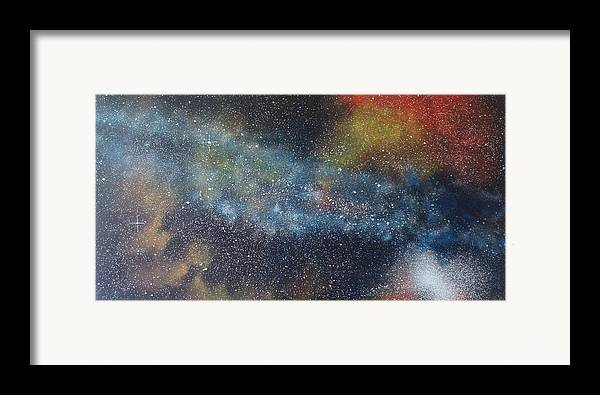 Space;stars;starry;nebula;spiral;galaxy;star Cluster;celestial;cosmos;universe;orgasm Framed Print featuring the painting Stargasm by Sean Connolly