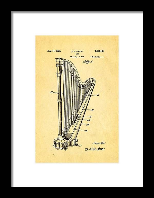 Famous Framed Print featuring the photograph Starke Harp Patent Art 1931 by Ian Monk