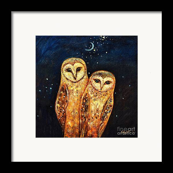 Owl Framed Print featuring the painting Starlight Owls by Shijun Munns