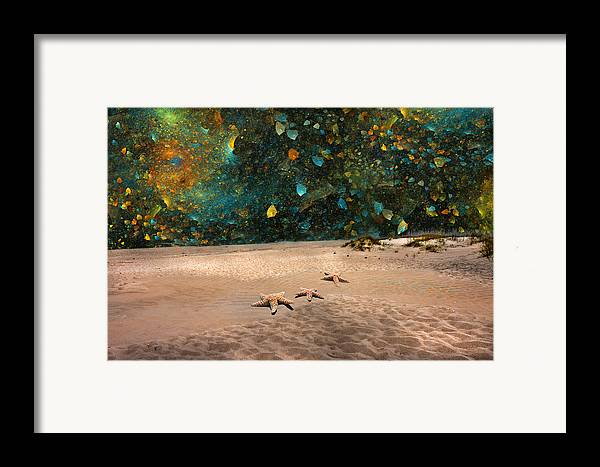 Starfish Framed Print featuring the digital art Starry Beach Night by Betsy Knapp