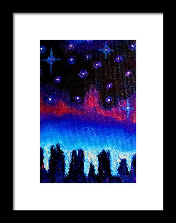 Landscape Framed Print featuring the painting Starry Night In Exeter by Susi Franco