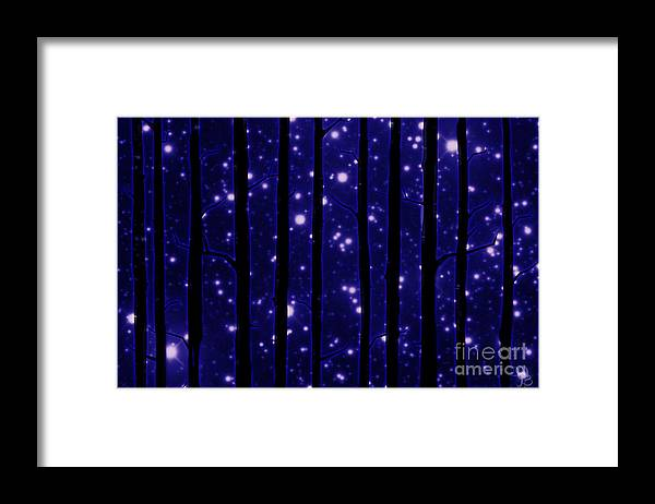 Trees Framed Print featuring the digital art Starry Night by Mindy Bench