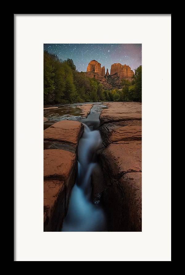 All Rights Reserved Framed Print featuring the photograph Starry Night Sluice Box Photography At Red Rock Crossing by Mike Berenson